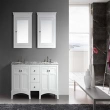 Load image into Gallery viewer, Bathroom Vanities - New York 60 Inch White Double Sink Bathroom Vanity With White Carrara Countertop And Undermount Porcelain Sinks