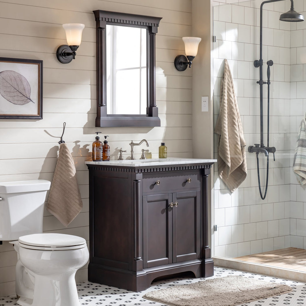 Bathroom Vanities - Preston 31 Inch Aged Chocolate Traditional Bathroom Vanity With White Carrara Marble Countertop And Undermount Porcelain Sink