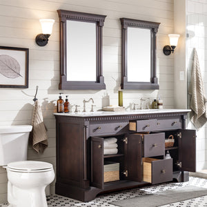 Bathroom Vanities - Preston 73 Inch Aged Chocolate Traditional Double Sink Bathroom Vanity With White Carrara Marble Countertop And Undermount Porcelain Sinks