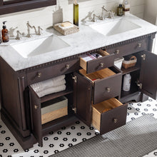 Load image into Gallery viewer, Bathroom Vanities - Preston 73 Inch Aged Chocolate Traditional Double Sink Bathroom Vanity With White Carrara Marble Countertop And Undermount Porcelain Sinks