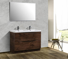 Load image into Gallery viewer, Bathroom Vanities - Smile 48 Inch Rosewood Freestanding Modern Double Sink Bathroom Vanity With White Integrated Acrylic Top