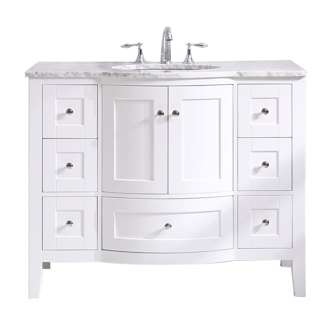 Bathroom Vanities - Stanton 42 Inch White Transitional Bathroom Vanity W/ White Carrara Countertop And Undermount Porcelain Sink
