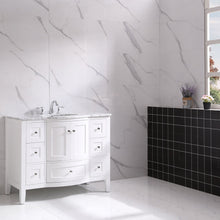 Load image into Gallery viewer, Bathroom Vanities - Stanton 42 Inch White Transitional Bathroom Vanity W/ White Carrara Countertop And Undermount Porcelain Sink