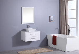 Bathroom Vanities - Totti Wave 24-inch White Modern Bathroom Vanity With Super White Man-Made Stone Countertop And Porcelain Vessel Sink