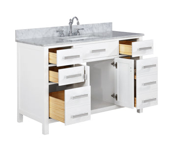 "Bathroom Vanities - Valentino 48"" Single Sink Bathroom Vanity In White"