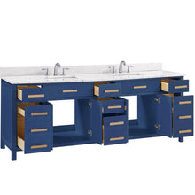 "Load image into Gallery viewer, Bathroom Vanities - Valentino 84"" Double Sink Bathroom Vanity In Blue"