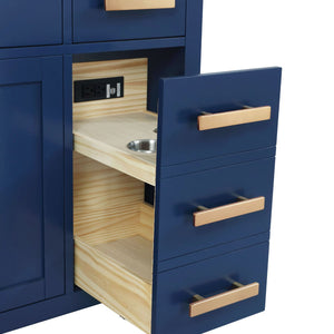 "Bathroom Vanities - Valentino 84"" Double Sink Bathroom Vanity In Blue"
