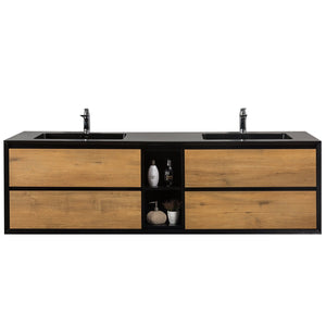 Bathroom Vanities - Vienna 75-inch White Oak With Black Frame Wall Mount Double Sink Bathroom Vanity With Black Integrated Acrylic Top