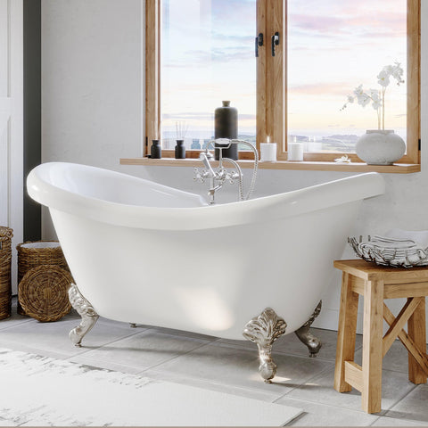 "Image of Bathtub - Acrylic Double Ended Clawfoot Bathtub 68"" X 28"" With No Faucet Drillings And Complete Brushed Nickel Plumbing Package"