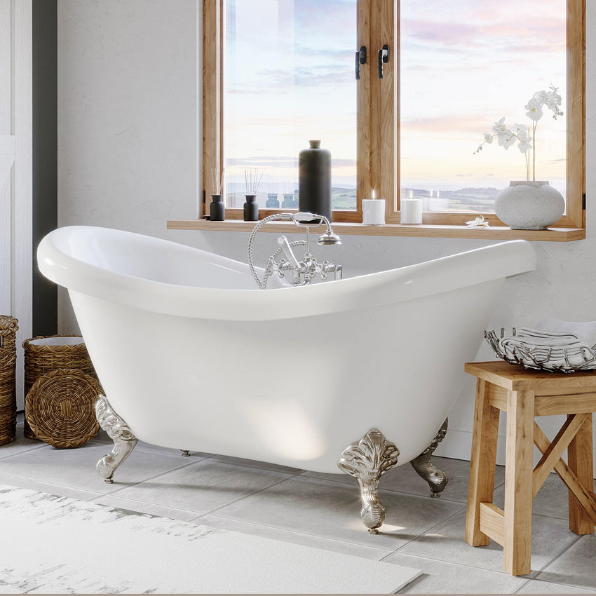 "Bathtub - Acrylic Double Ended Clawfoot Bathtub 68"" X 28"" With No Faucet Drillings And Complete Brushed Nickel Plumbing Package"