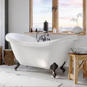 "Bathtub - Acrylic Double Ended Clawfoot Bathtub 68"" X 28"" With No Faucet Drillings And Complete Oil Rubbed Bronze Plumbing Package"