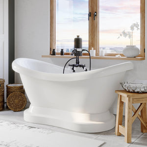 "Bathtub - Acrylic Double Ended  Pedestal Slipper Bathtub 68"" X 28"" With 7"" Deck Mount Faucet Drillings And Complete Oil Rubbed Bronze Plumbing Package"