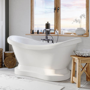 "Bathtub - Acrylic Double Ended  Pedestal Slipper Bathtub 68"" X 28"" With No Faucet Drillings And Complete Oil Rubbed Bronze Plumbing Package"