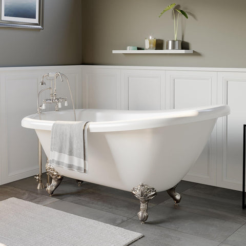 "Image of Bathtub - Acrylic  Slipper Bathtub 61"" X 28"" With 7"" Deck Mount Faucet Drillings And Complete Brushed Nickel Plumbing Package"