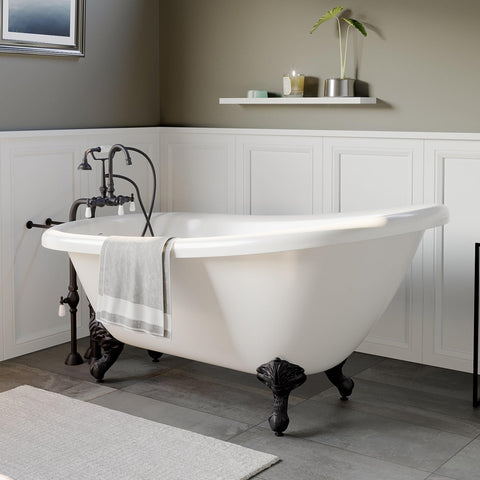 "Image of Bathtub - Acrylic  Slipper Bathtub 61"" X 28"" With No Faucet Drillings And Complete Oil Rubbed Bronze Plumbing Package"