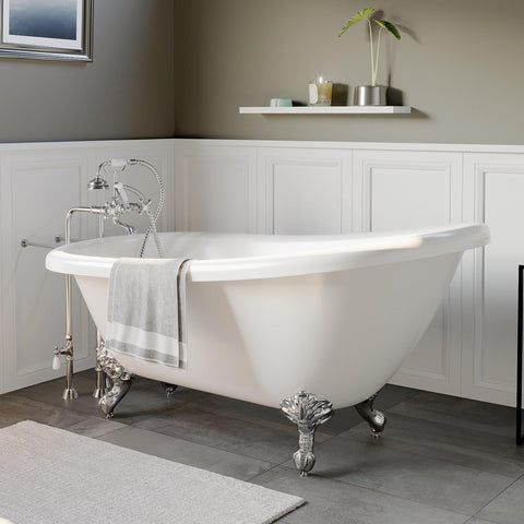 "Image of Bathtub - Acrylic  Slipper Bathtub 61"" X 28"" With  No Faucet Drillings And Complete Polished Chrome Plumbing Package"