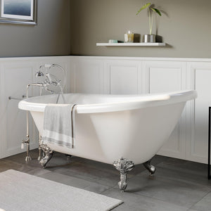 "Bathtub - Acrylic  Slipper Bathtub 61"" X 28"" With  No Faucet Drillings And Complete Polished Chrome Plumbing Package"
