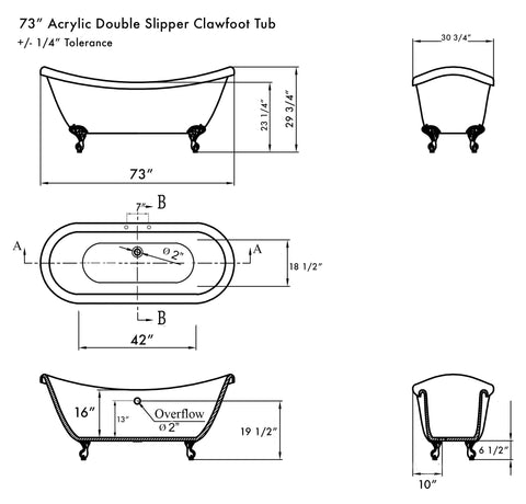 Image of Bathtub - Extra Large Acrylic Double Slipper Clawfoot Tub, Bronze Feet And Deck Mount Faucet Holes