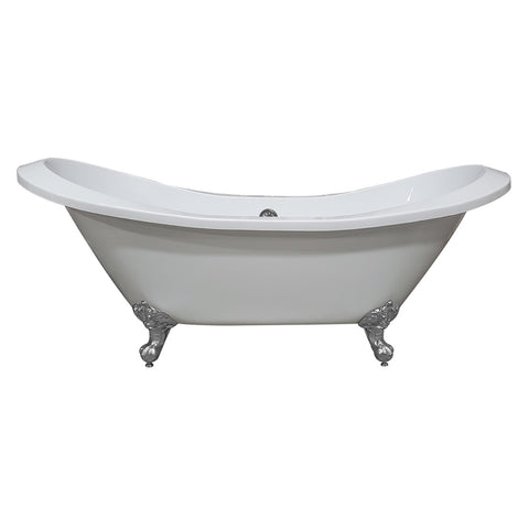 Image of Bathtub - Extra Large Acrylic Double Slipper Clawfoot Tub, Polished Chrome Feet And No Faucet Holes