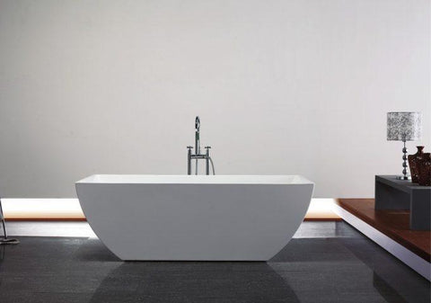 Image of Bathtub - Kube Contemporanea 67'' White Free Standing Bathtub
