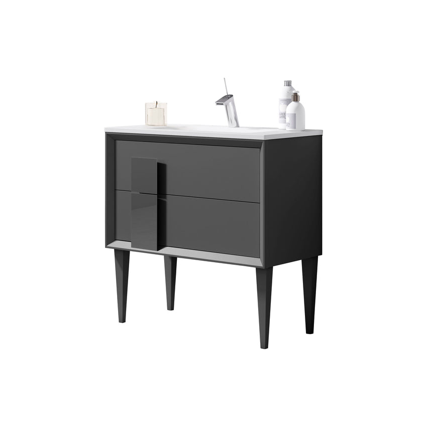 "Lucena Bath 40"" Grey Cristal Freestanding Single Bathroom Vanity"