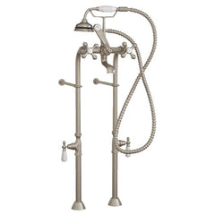Faucets - Clawfoot Tub Freestanding British Telephone Faucet & Hand Held Shower Combo-Brushed Nickel