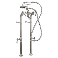Faucets - Clawfoot Tub Freestanding British Telephone Faucet & Hand Held Shower Combo-Polished Chrome