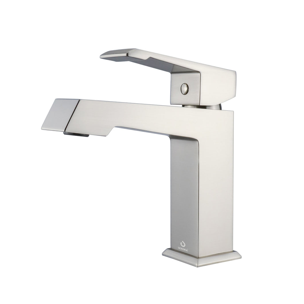 Faucets - Labaro Brass Single Hole Bathroom Faucet - Brushed Nickel