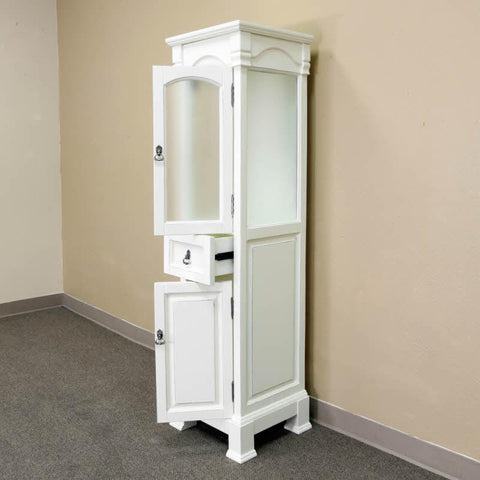 Image of Linen Side Cabinet - Linen Cabinet -Wood -Cream White