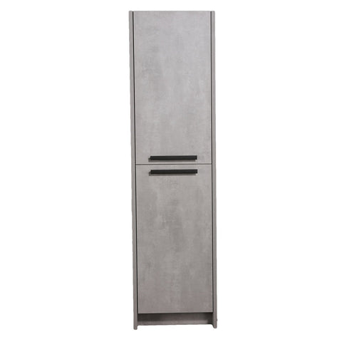 Linen Side Cabinet - Lugano 16-inch Cement Gray Freestanding Modern Bathroom Linen Side Cabinet