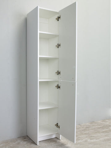 Image of Linen Side Cabinet - Lugano 16-inch White Freestanding Modern Bathroom Linen Side Cabinet