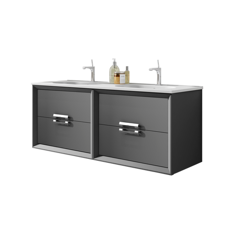"64"" Grey Décor Tirador Wall Mounted/ Floating  Double Bathroom Vanity"