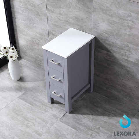 "Image of Side Cabinets - 12"" Dark Grey Side Cabinet, Phoenix Stone Top"