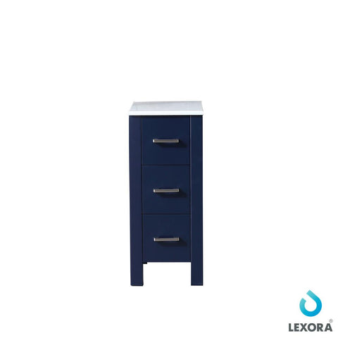 "Side Cabinets - 12"" Navy Blue Side Cabinet, Phoenix Stone Top"
