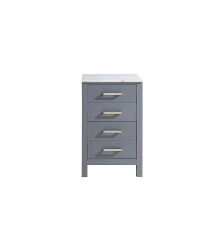 "Side Cabinets - 20"" Dark Grey Side Cabinet, White Carrara Marble Top"