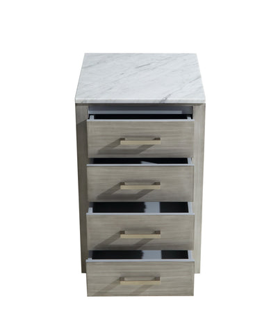 "Side Cabinets - 20"" Distressed Grey Side Cabinet, White Carrara Marble Top"
