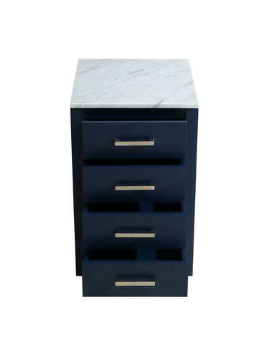 "Side Cabinets - 20"" Navy Blue Side Cabinet, White Carrara Marble Top"