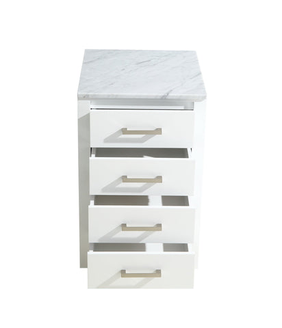 "Side Cabinets - 20"" White Side Cabinet, White Carrara Marble Top"