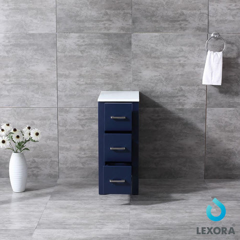 "Image of Side Cabinets - Lexora 12"" Navy Blue Side Cabinet, Phoenix Stone Top"