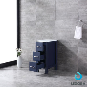 "Side Cabinets - Lexora 12"" Navy Blue Side Cabinet, Phoenix Stone Top"