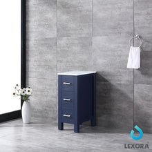 "Load image into Gallery viewer, Side Cabinets - Lexora 12"" Navy Blue Side Cabinet, Phoenix Stone Top"