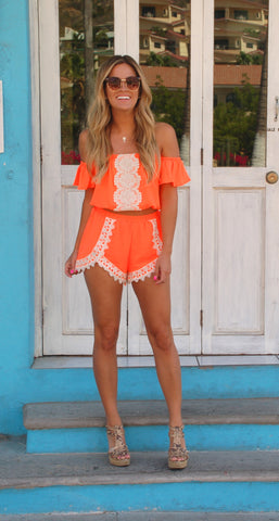 Mandarin Orange Citrus Twist Two Piece Romper from ShopbellaC