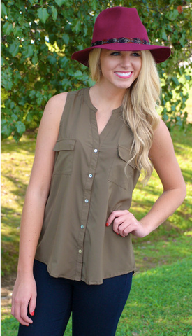 Getting the Job Done Tank in Olive