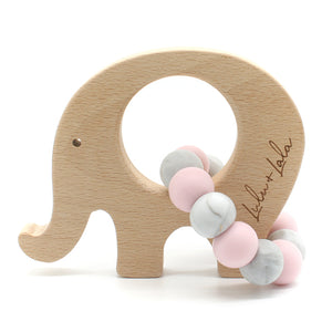 Lulu & Lala Elle Silicone + Wood Teether Pink/Marble