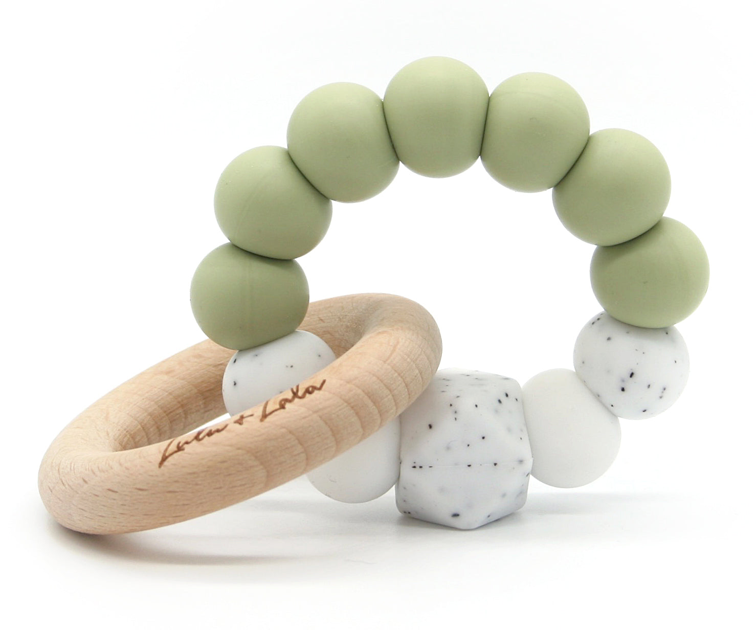 Lulu & Lala - Lala Silicone and Wood Teether - Leaf