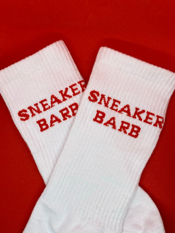 Red and White Sneaker Barb socks