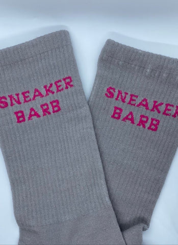 Grey and Pink Sneaker Barb socks