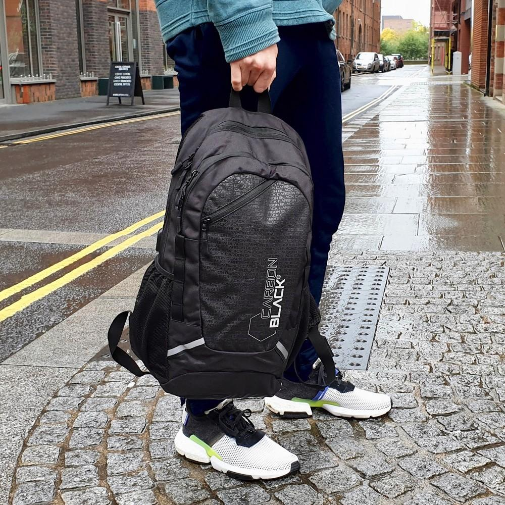 CarbonBlack Water Resistant Sports Backpack made from Recycled Plastic Bottles - Cabin Max