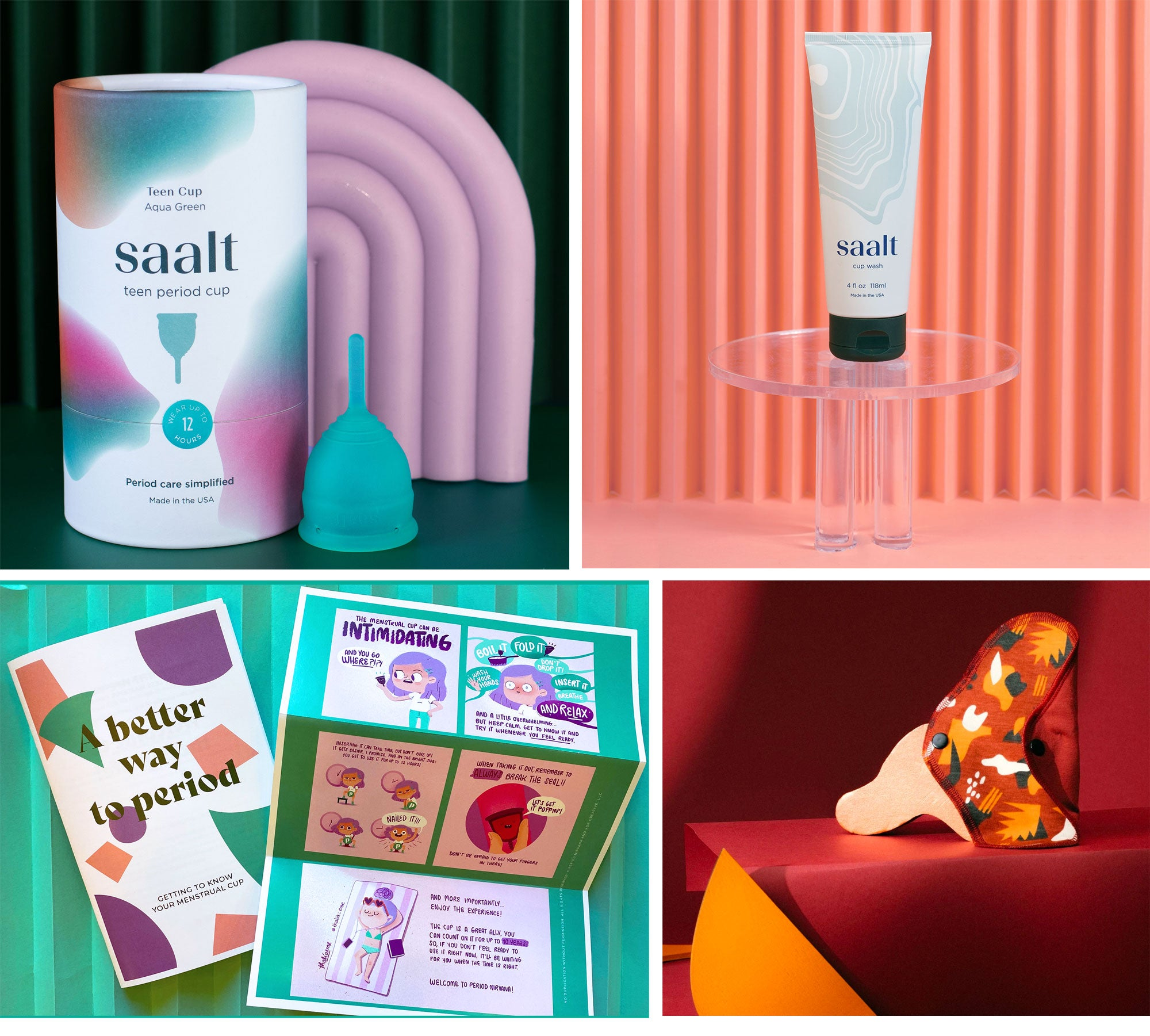 saalt teen cup with wash and menstrual cup comic and cloth liner by Aisle