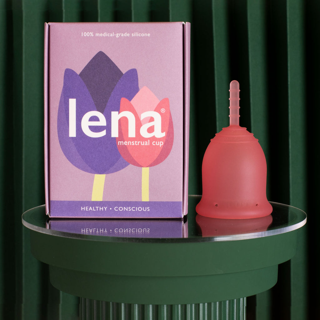 Lena menstrual cup with packaging in pink size small